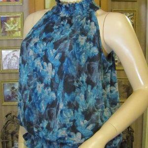 John Paul Richards Blue Floral Top size S (M/L)